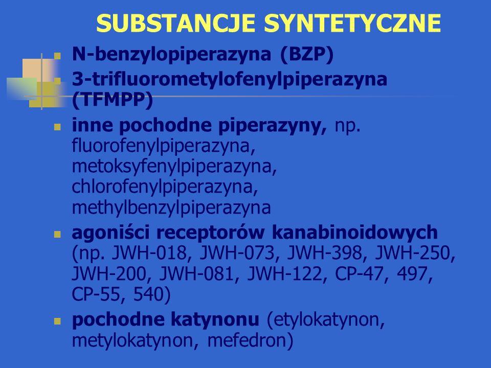 BENZYLOPIPERAZYNA (BZP) Formy: biały proszek, tabletki, kapsułki Stymulant OUN o działaniu podobnym do amfetaminy i metamfetaminy, ale słabszym Niekorzystne objawy (wg użytkowników): ból brzucha, nudności, wymioty, ból głowy, kołatanie serca, brak apetytu, stany lękowe, bezsenność, wahania nastroju, dezorientacja, rozdrażnienie, drgawki Może wywoływać uzależnienie Często występuje w połączeniu z TFMPP Zdelegalizowana w Polsce w marcu 2009r.