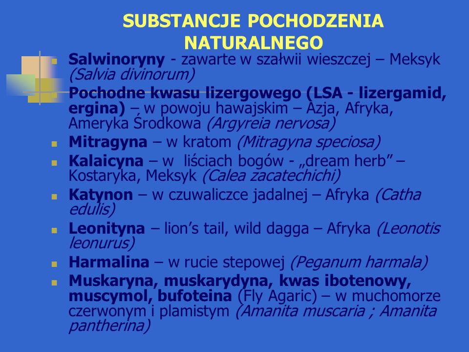 """SUBSTANCJE POCHODZENIA NATURALNEGO Salwinoryny - zawarte w szałwii wieszczej – Meksyk (Salvia divinorum) Pochodne kwasu lizergowego (LSA - lizergamid, ergina) – w powoju hawajskim – Azja, Afryka, Ameryka Środkowa (Argyreia nervosa) Mitragyna – w kratom (Mitragyna speciosa) Kalaicyna – w liściach bogów - """"dream herb – Kostaryka, Meksyk (Calea zacatechichi) Katynon – w czuwaliczce jadalnej – Afryka (Catha edulis) Leonityna – lion's tail, wild dagga – Afryka (Leonotis leonurus) Harmalina – w rucie stepowej (Peganum harmala) Muskaryna, muskarydyna, kwas ibotenowy, muscymol, bufoteina (Fly Agaric) – w muchomorze czerwonym i plamistym (Amanita muscaria ; Amanita pantherina)"""