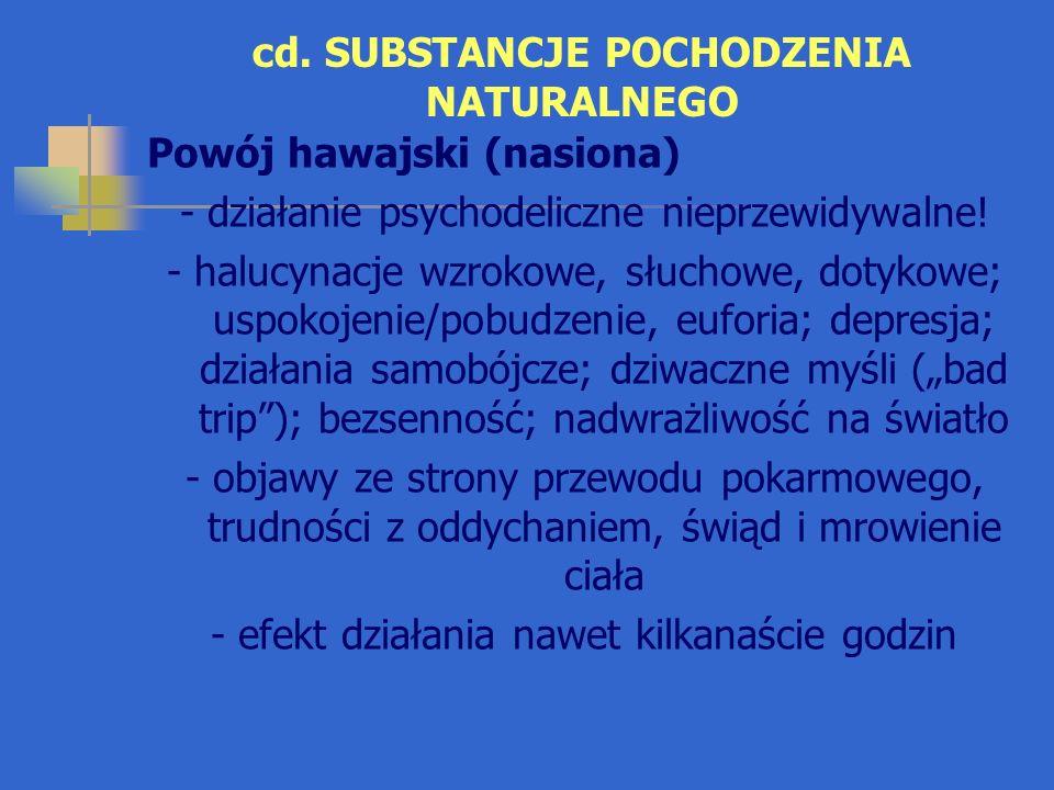 cd. SUBSTANCJE POCHODZENIA NATURALNEGO Powój hawajski (nasiona) - działanie psychodeliczne nieprzewidywalne! - halucynacje wzrokowe, słuchowe, dotykow