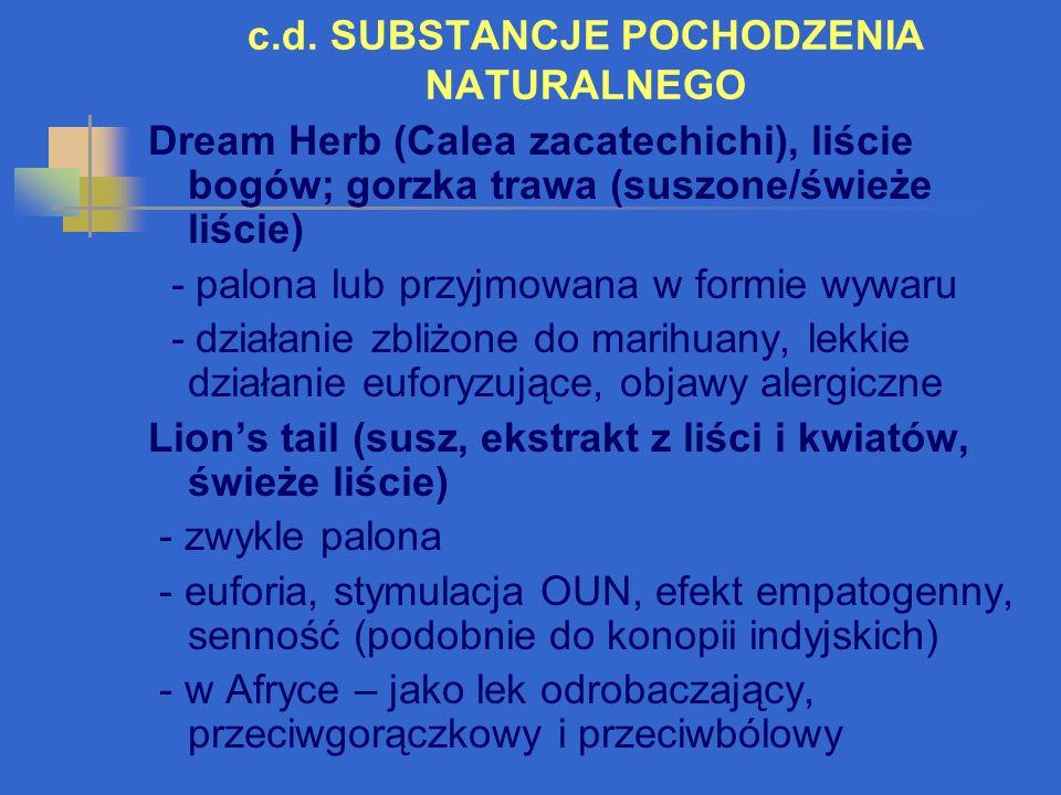 c.d. SUBSTANCJE POCHODZENIA NATURALNEGO Dream Herb (Calea zacatechichi), liście bogów; gorzka trawa (suszone/świeże liście) - palona lub przyjmowana w
