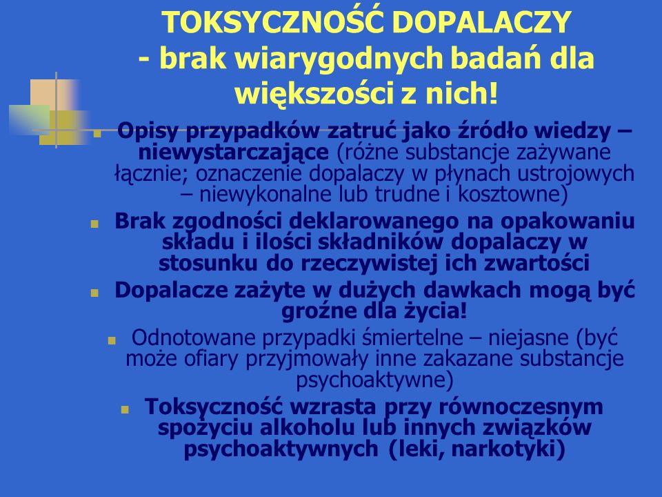 OBRAZ KLINICZNY ZATRUCIA DOPALACZAMI Obraz kliniczny zatruć dopalaczami syntetycznymi jest podobny do zatruć, odpowiednio amfetaminą lub marihuaną Dopalacze ziołowe powodują rozmaite zaburzenia psychiczne, od pobudzenia (muchomor czerwony) do senności (duże dawki kratomu); szałwia wieszcza działa psychodelicznie Zwykle zaburzenia żołądkowo-jelitowe (wymioty, bieguna), możliwe głębokie zaburzenia świadomości, rytmu serca, oddychania, wzrost lub spadek ciśnienia tętniczego, hipoglikemia, drgawki