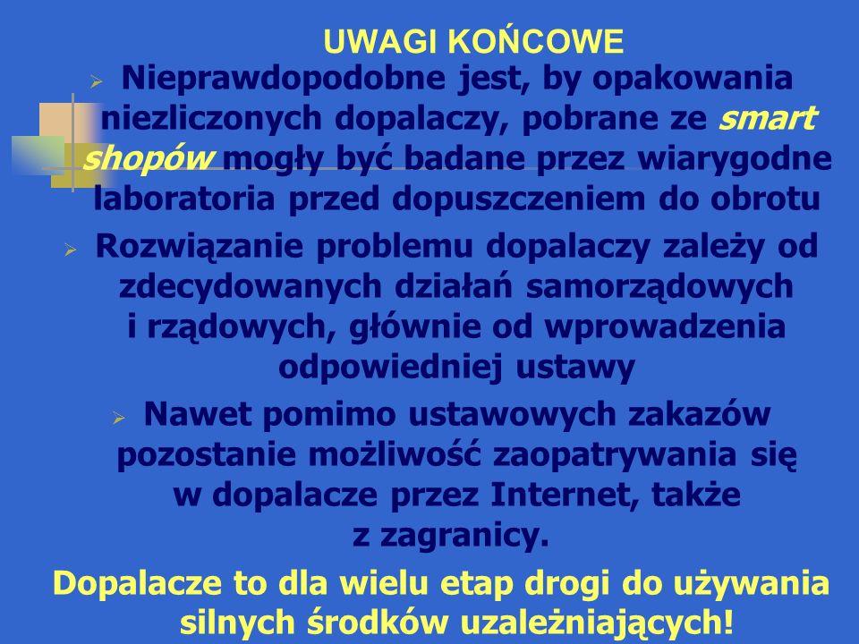UWAGI KOŃCOWE  Dopalacze NIE SĄ bezpieczną i naturalną alternatywą dla substancji narkotycznych nielegalnych.