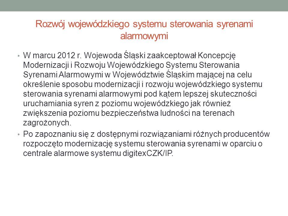 Rozwój wojewódzkiego systemu sterowania syrenami alarmowymi W marcu 2012 r. Wojewoda Śląski zaakceptował Koncepcję Modernizacji i Rozwoju Wojewódzkieg