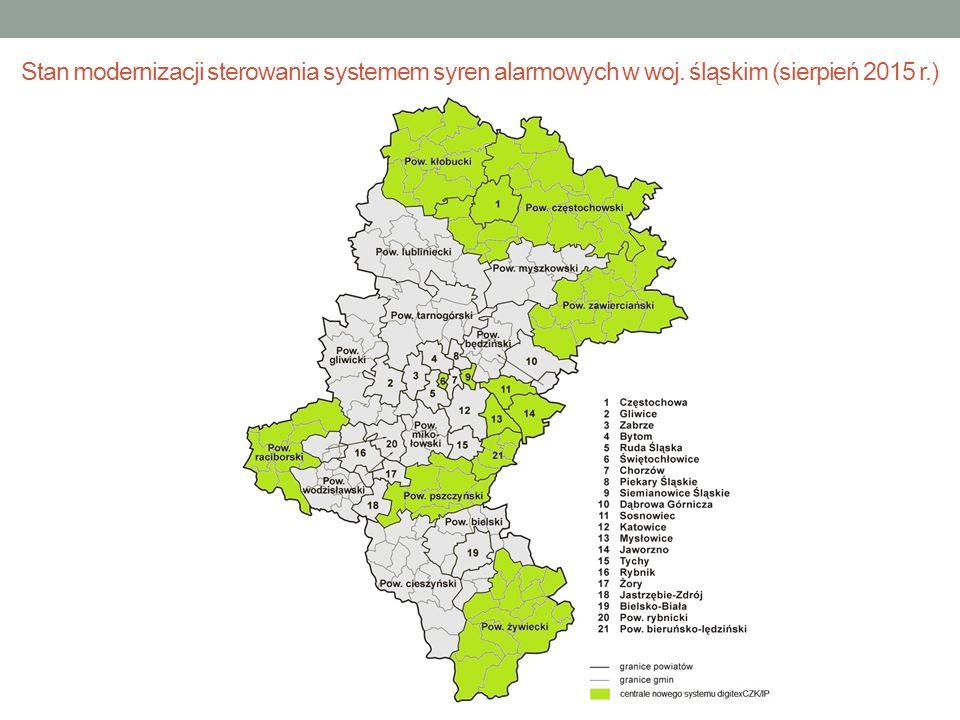 Stan modernizacji sterowania systemem syren alarmowych w woj. śląskim (sierpień 2015 r.)
