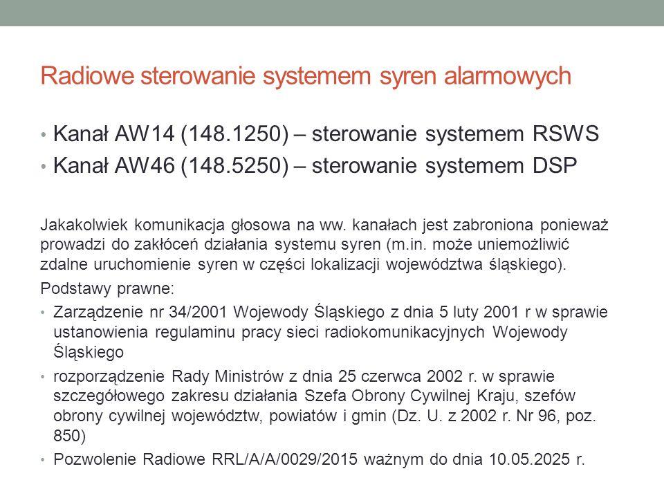 Radiowe sterowanie systemem syren alarmowych Kanał AW14 (148.1250) – sterowanie systemem RSWS Kanał AW46 (148.5250) – sterowanie systemem DSP Jakakolw