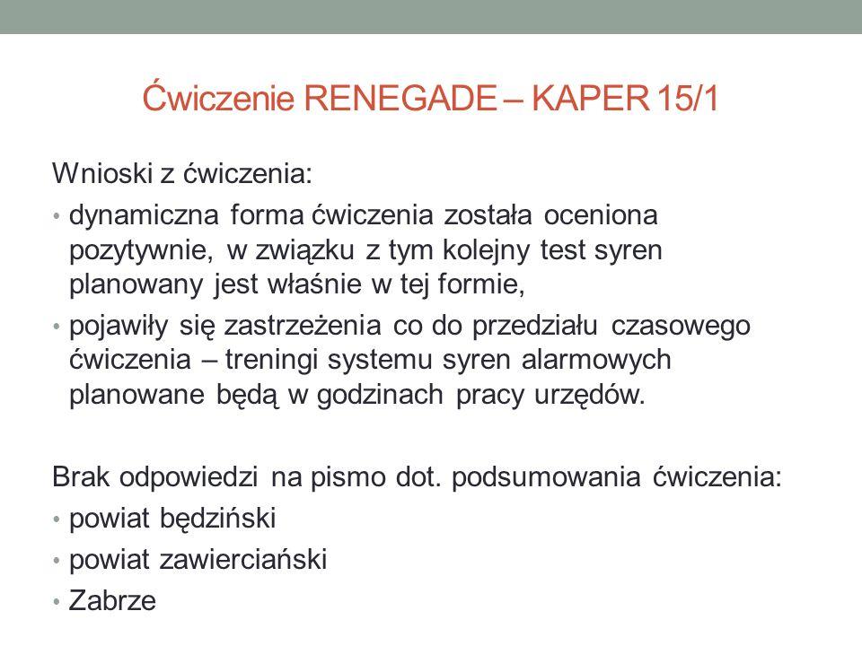 Ćwiczenie RENEGADE – KAPER 15/1 Wnioski z ćwiczenia: dynamiczna forma ćwiczenia została oceniona pozytywnie, w związku z tym kolejny test syren planow
