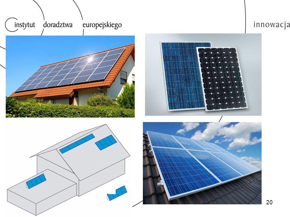  Zmniejszenie kosztów związanych z opłatami za energię elektryczną,  Prosty montaż,  Nie zajmują dodatkowej przestrzeni - zazwyczaj są montowane na dachach budynków,  Ogniwa fotowoltaiczne mimo zmian okresowych związanych z porami roku wytwarzają stabilną ilość energii w skali roku.