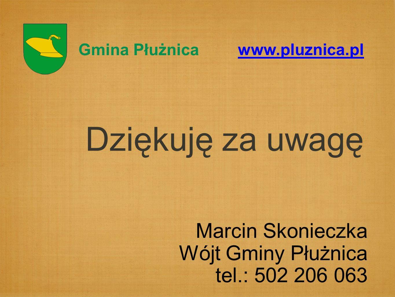 Dziękuję za uwagę Gmina Płużnica www.pluznica.pl Marcin Skonieczka Wójt Gminy Płużnica tel.: 502 206 063