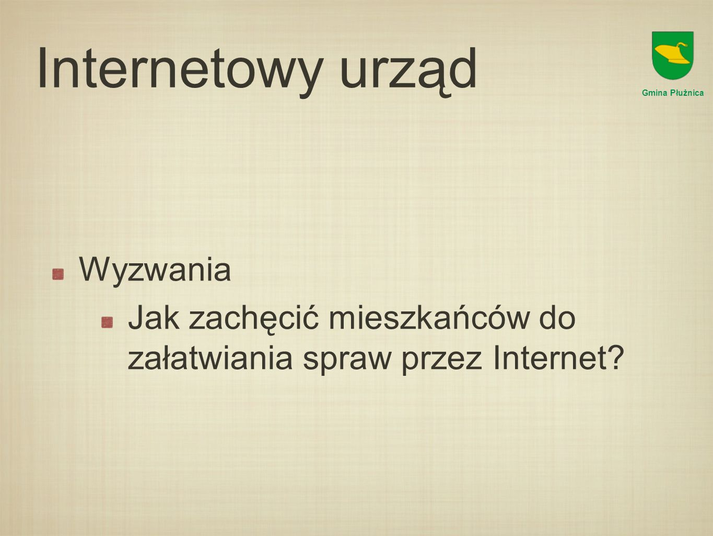 Internetowy urząd Wyzwania Jak zachęcić mieszkańców do załatwiania spraw przez Internet.