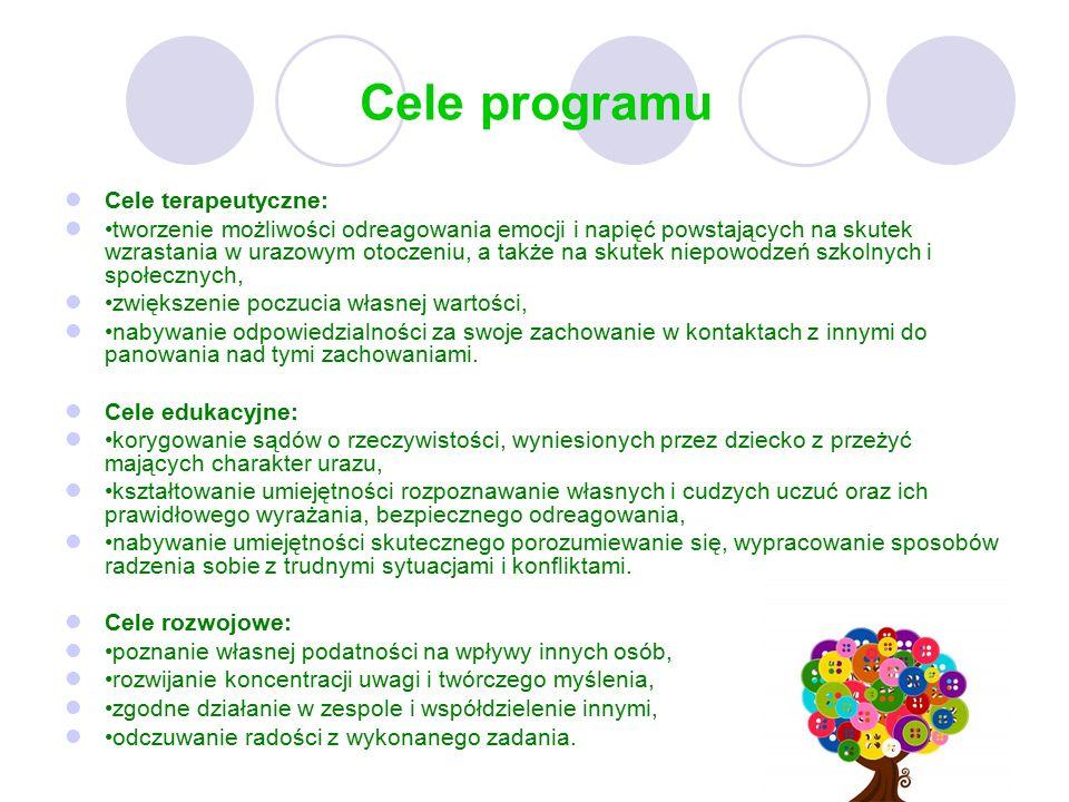 Cele programu Cele terapeutyczne: tworzenie możliwości odreagowania emocji i napięć powstających na skutek wzrastania w urazowym otoczeniu, a także na skutek niepowodzeń szkolnych i społecznych, zwiększenie poczucia własnej wartości, nabywanie odpowiedzialności za swoje zachowanie w kontaktach z innymi do panowania nad tymi zachowaniami.