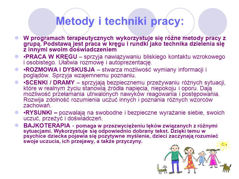 Metody i techniki pracy: W programach terapeutycznych wykorzystuje się różne metody pracy z grupą.