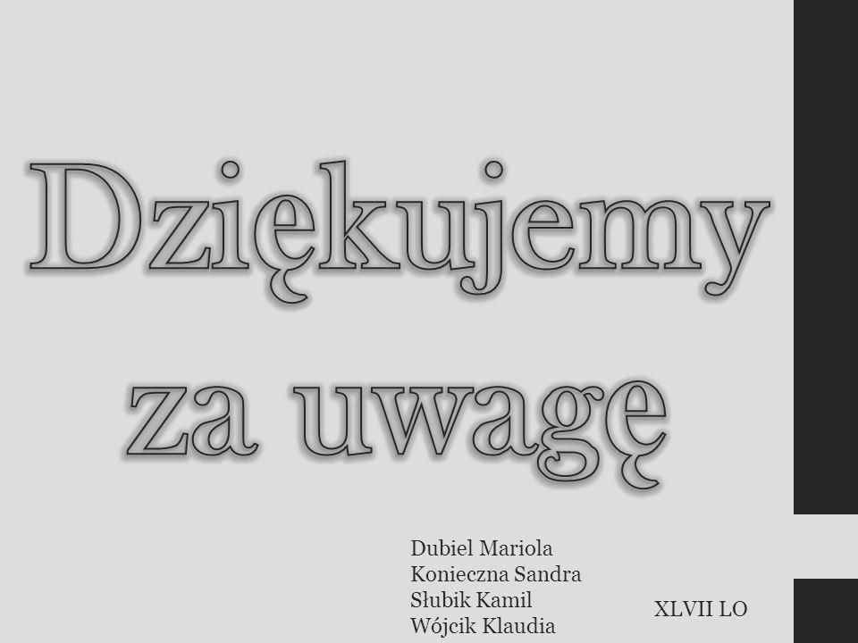 Dubiel Mariola Konieczna Sandra Słubik Kamil Wójcik Klaudia XLVII LO