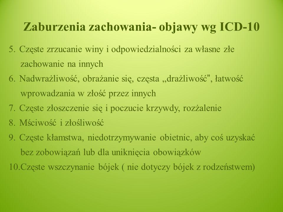 """Zaburzenia zachowania- objawy wg ICD-10 5.Częste zrzucanie winy i odpowiedzialności za własne złe zachowanie na innych 6.Nadwrażliwość, obrażanie się, częsta """"drażliwość , łatwość wprowadzania w złość przez innych 7.Częste złoszczenie się i poczucie krzywdy, rozżalenie 8.Mściwość i złośliwość 9.Częste kłamstwa, niedotrzymywanie obietnic, aby coś uzyskać bez zobowiązań lub dla uniknięcia obowiązków 10.Częste wszczynanie bójek ( nie dotyczy bójek z rodzeństwem)"""