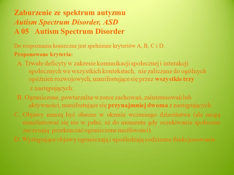 Zaburzenie ze spektrum autyzmu Autism Spectrum Disorder, ASD A 05 Autism Spectrum Disorder Do rozpoznania konieczne jest spełnienie kryteriów A, B, C i D.