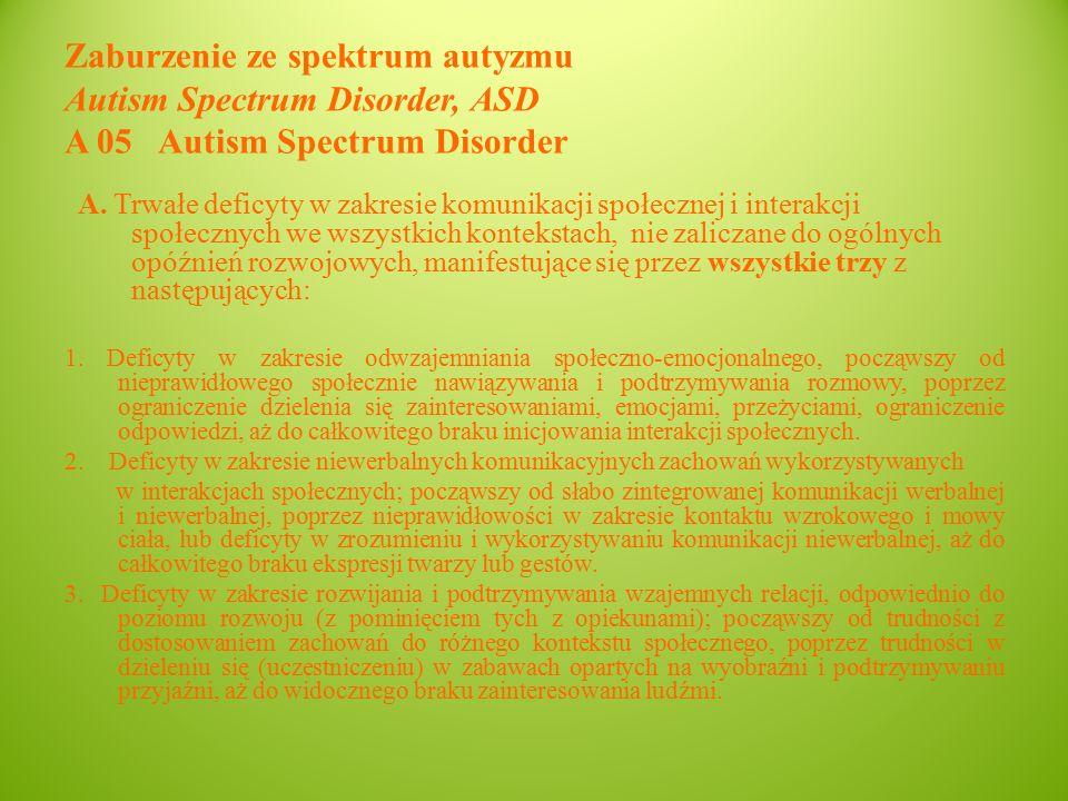 Zaburzenie ze spektrum autyzmu Autism Spectrum Disorder, ASD A 05 Autism Spectrum Disorder A.