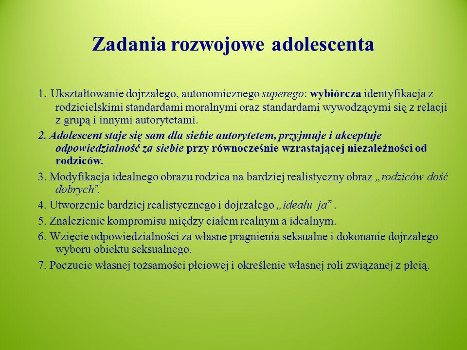 Zadania rozwojowe adolescenta 1.