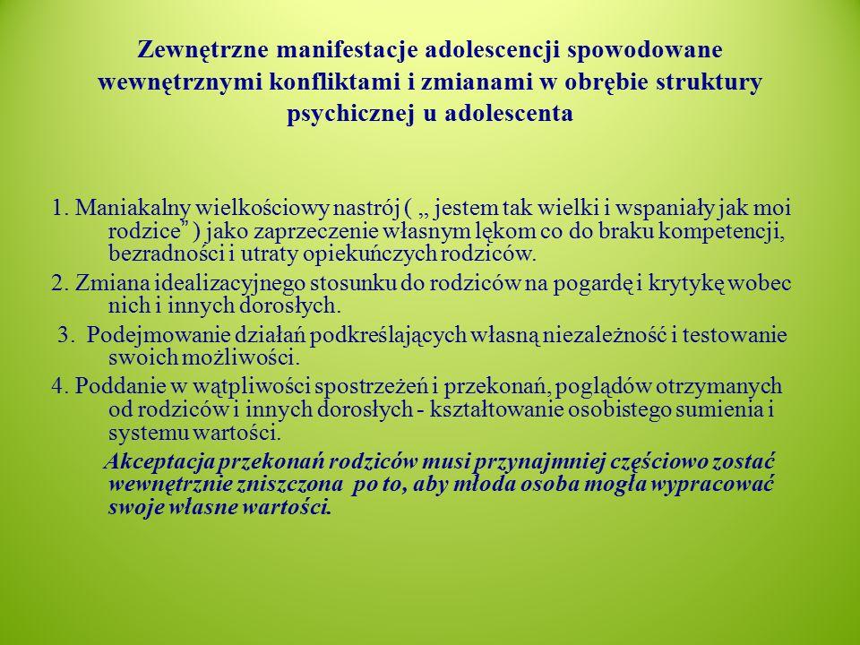 Zewnętrzne manifestacje adolescencji spowodowane wewnętrznymi konfliktami i zmianami w obrębie struktury psychicznej u adolescenta 1.