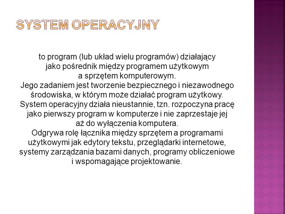 to program (lub układ wielu programów) działający jako pośrednik między programem użytkowym a sprzętem komputerowym.