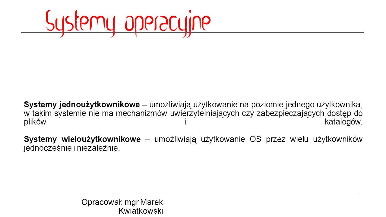 Podział systemów ze względu na interfejs użytkownika Opracował: mgr Marek Kwiatkowski