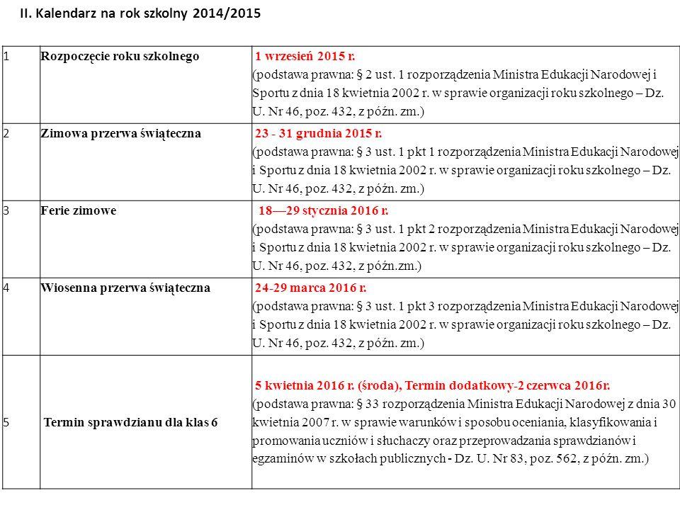 1 Rozpoczęcie roku szkolnego 1 wrzesień 2015 r. (podstawa prawna: § 2 ust. 1 rozporządzenia Ministra Edukacji Narodowej i Sportu z dnia 18 kwietnia 20