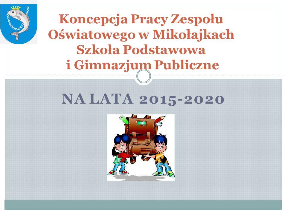 NA LATA 2015-2020 Koncepcja Pracy Zespołu Oświatowego w Mikołajkach Szkoła Podstawowa i Gimnazjum Publiczne