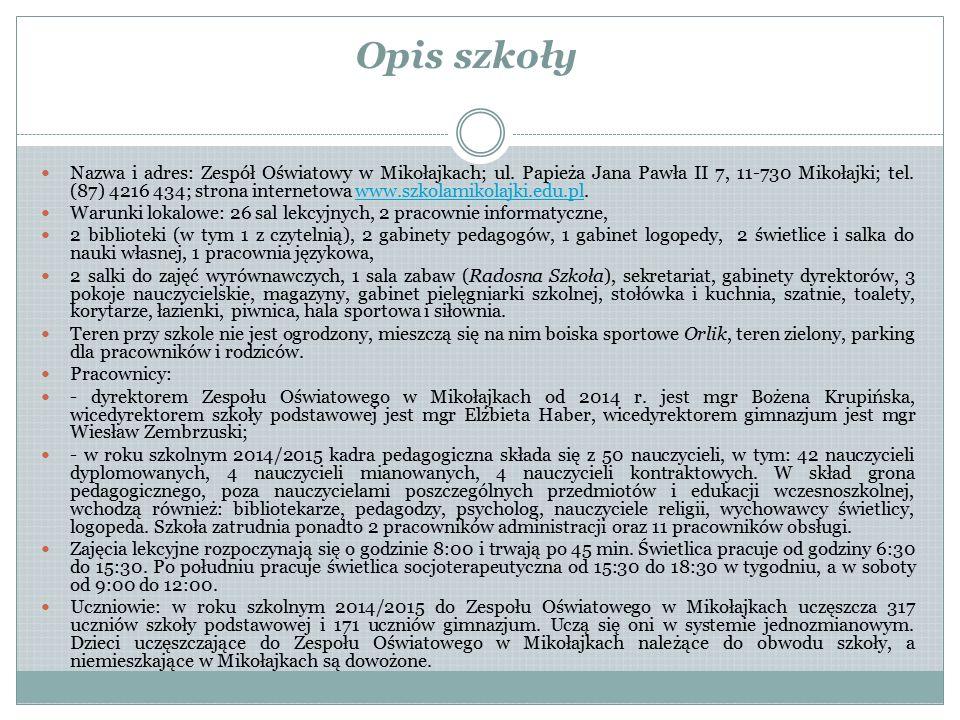 Opis szkoły Nazwa i adres: Zespół Oświatowy w Mikołajkach; ul. Papieża Jana Pawła II 7, 11-730 Mikołajki; tel. (87) 4216 434; strona internetowa www.s