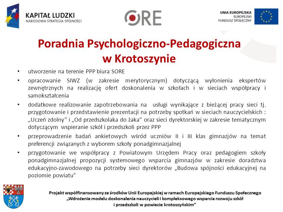 Poradnia Psychologiczno-Pedagogiczna w Krotoszynie utworzenie na terenie PPP biura SORE opracowanie SIWZ (w zakresie merytorycznym) dotyczącą wyłonienia ekspertów zewnętrznych na realizację ofert doskonalenia w szkołach i w sieciach współpracy i samokształcenia dodatkowe realizowanie zapotrzebowania na usługi wynikające z bieżącej pracy sieci tj.