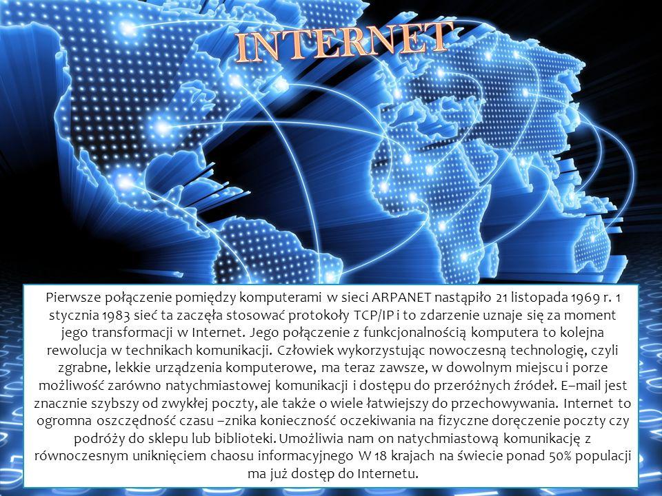 Pierwsze połączenie pomiędzy komputerami w sieci ARPANET nastąpiło 21 listopada 1969 r. 1 stycznia 1983 sieć ta zaczęła stosować protokoły TCP/IP i to