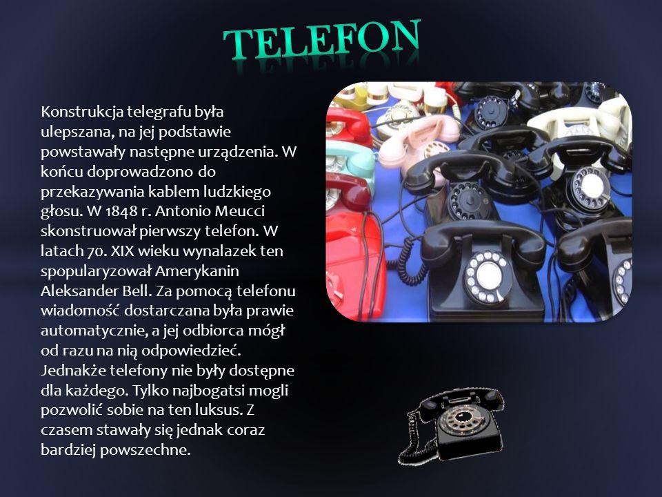 Konstrukcja telegrafu była ulepszana, na jej podstawie powstawały następne urządzenia. W końcu doprowadzono do przekazywania kablem ludzkiego głosu. W
