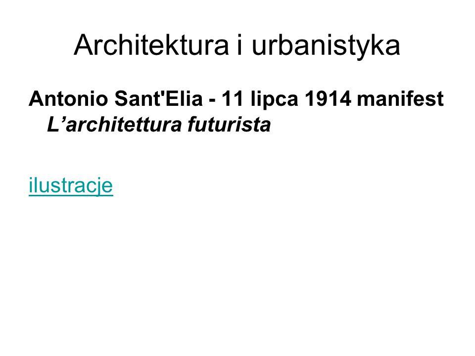 Architektura i urbanistyka Antonio Sant'Elia - 11 lipca 1914 manifest L'architettura futurista ilustracje