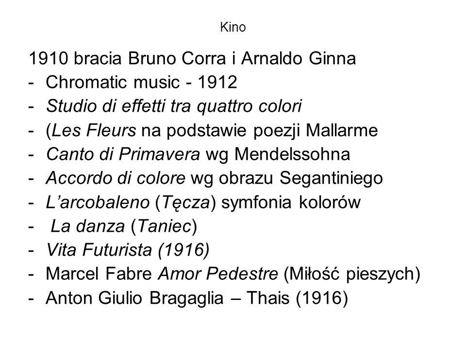 Kino 1910 bracia Bruno Corra i Arnaldo Ginna -Chromatic music - 1912 -Studio di effetti tra quattro colori -(Les Fleurs na podstawie poezji Mallarme -