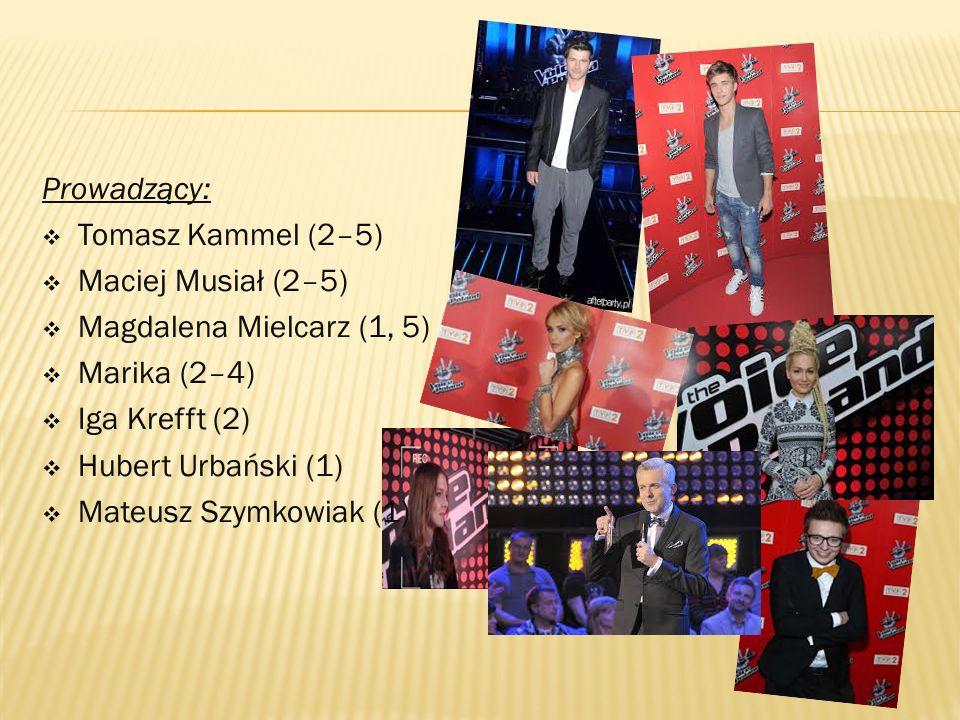 Prowadzący:  Tomasz Kammel (2–5)  Maciej Musiał (2–5)  Magdalena Mielcarz (1, 5)  Marika (2–4)  Iga Krefft (2)  Hubert Urbański (1)  Mateusz Szymkowiak (1)