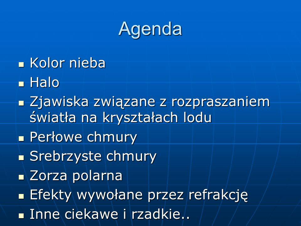 Agenda Kolor nieba Kolor nieba Halo Halo Zjawiska związane z rozpraszaniem światła na kryształach lodu Zjawiska związane z rozpraszaniem światła na kr