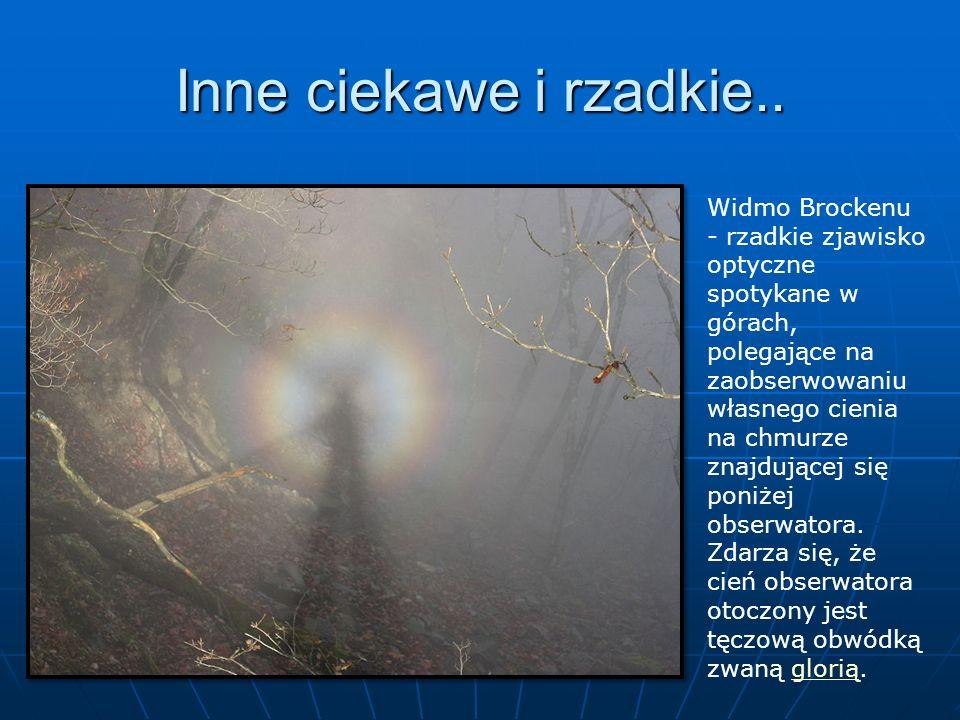 Inne ciekawe i rzadkie.. Widmo Brockenu - rzadkie zjawisko optyczne spotykane w górach, polegające na zaobserwowaniu własnego cienia na chmurze znajdu
