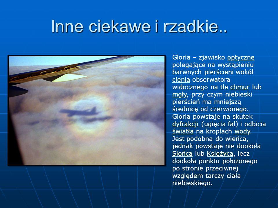Inne ciekawe i rzadkie.. Gloria – zjawisko optyczne polegające na wystąpieniu barwnych pierścieni wokół cienia obserwatora widocznego na tle chmur lub