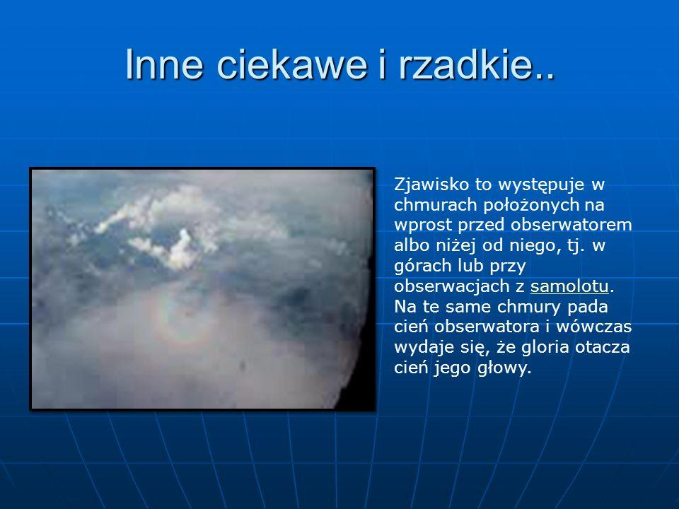 Inne ciekawe i rzadkie.. Zjawisko to występuje w chmurach położonych na wprost przed obserwatorem albo niżej od niego, tj. w górach lub przy obserwacj