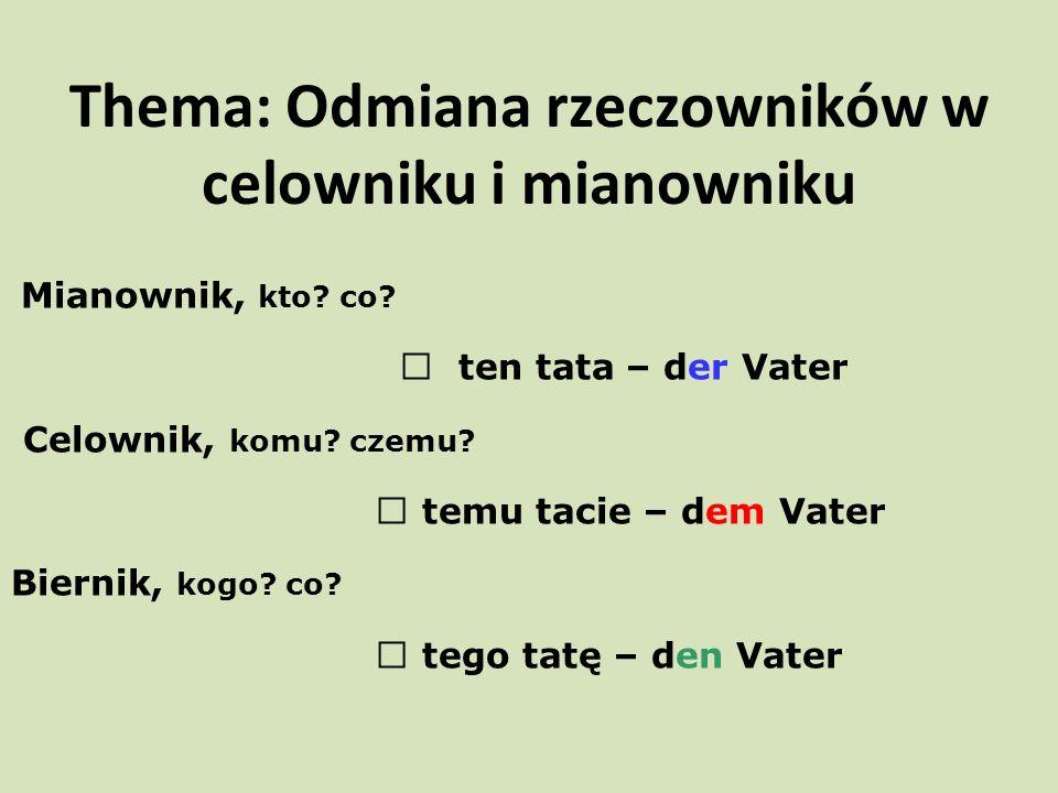 Thema: Odmiana rzeczowników w celowniku i mianowniku Mianownik, kto.