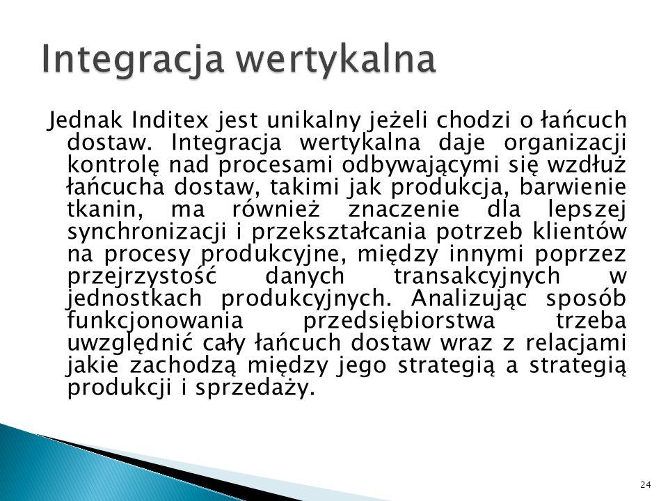 Jednak Inditex jest unikalny jeżeli chodzi o łańcuch dostaw. Integracja wertykalna daje organizacji kontrolę nad procesami odbywającymi się wzdłuż łań
