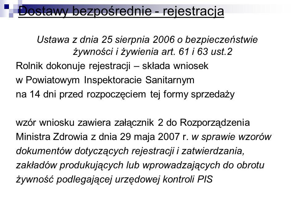 Dostawy bezpośrednie - rejestracja Ustawa z dnia 25 sierpnia 2006 o bezpieczeństwie żywności i żywienia art. 61 i 63 ust.2 Rolnik dokonuje rejestracji