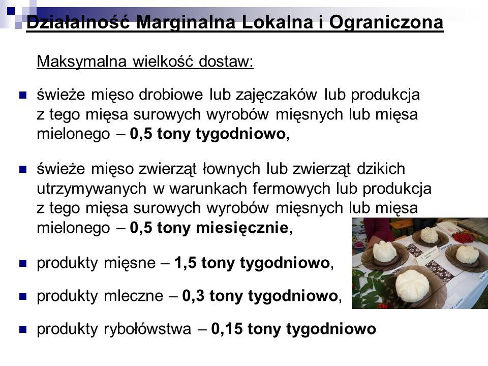 Działalność Marginalna Lokalna i Ograniczona Maksymalna wielkość dostaw: świeże mięso drobiowe lub zajęczaków lub produkcja z tego mięsa surowych wyro