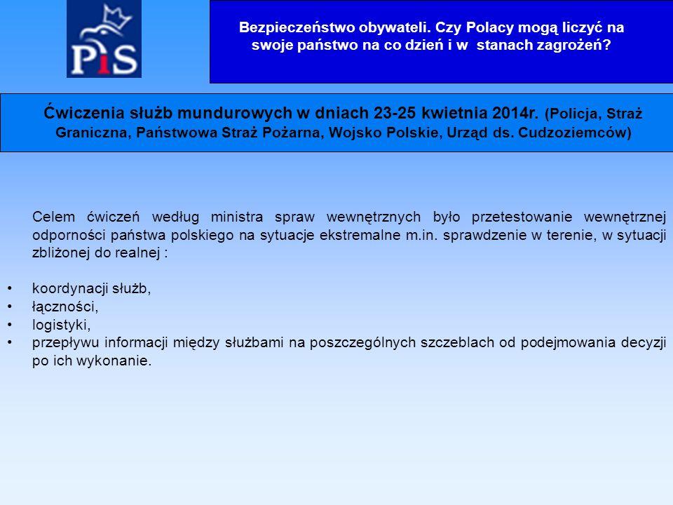 Celem ćwiczeń według ministra spraw wewnętrznych było przetestowanie wewnętrznej odporności państwa polskiego na sytuacje ekstremalne m.in.
