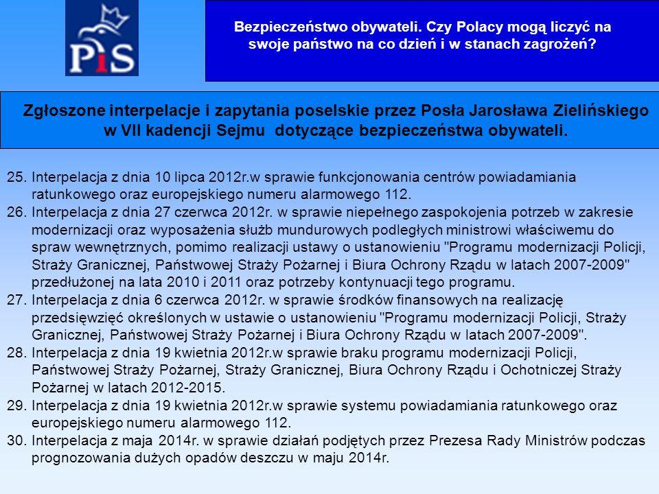 25. Interpelacja z dnia 10 lipca 2012r.w sprawie funkcjonowania centrów powiadamiania ratunkowego oraz europejskiego numeru alarmowego 112. 26. Interp