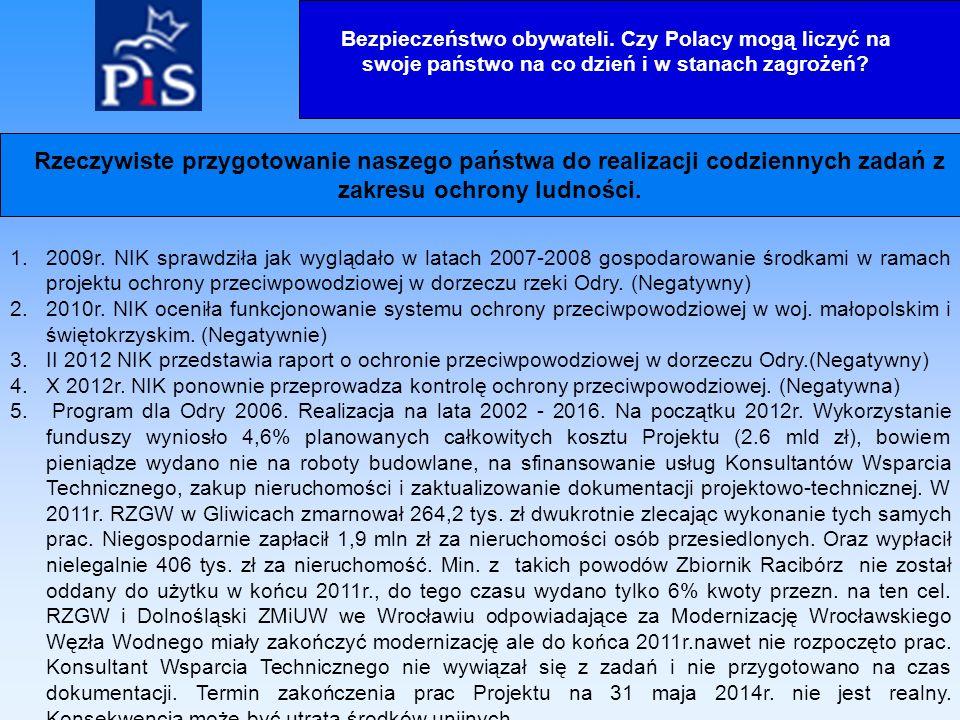 1.2009r. NIK sprawdziła jak wyglądało w latach 2007-2008 gospodarowanie środkami w ramach projektu ochrony przeciwpowodziowej w dorzeczu rzeki Odry. (