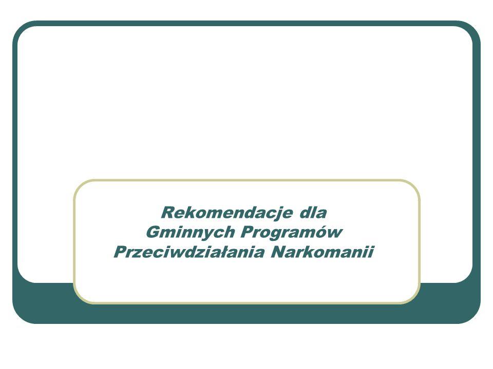 Rekomendacje dla Gminnych Programów Przeciwdziałania Narkomanii
