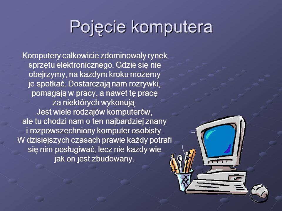 Z czego jest zbudowany: MonitorMonitor Płyta głównaPłyta główna ProcesorProcesor Gniazda kontrolerów dysków twardych (ATA)Gniazda kontrolerów dysków twardych (ATA) Kości pamięci operacyjnej (RAM)Kości pamięci operacyjnej (RAM) Karty rozszerzeńKarty rozszerzeń ZasilaczZasilacz Napęd optyczny (CD/DVD)Napęd optyczny (CD/DVD) Dysk twardy (HDD)Dysk twardy (HDD) KlawiaturaKlawiatura MyszMysz