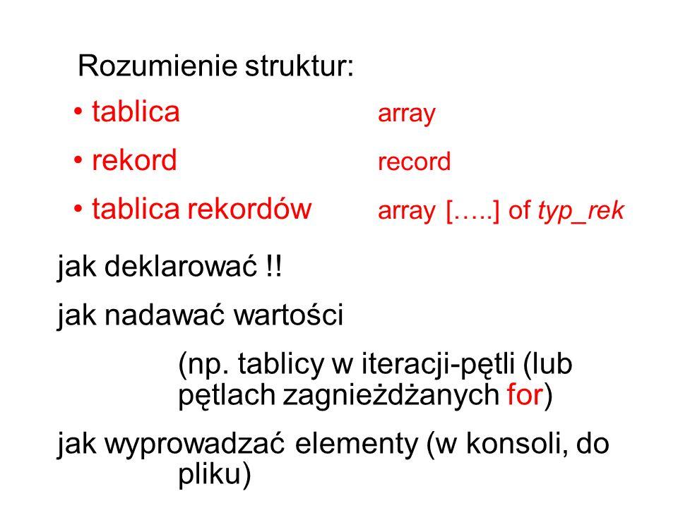 tablica array rekord record tablica rekordów array […..] of typ_rek Rozumienie struktur: jak deklarować !.