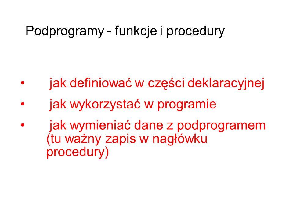 jak definiować w części deklaracyjnej jak wykorzystać w programie jak wymieniać dane z podprogramem (tu ważny zapis w nagłówku procedury) Podprogramy - funkcje i procedury