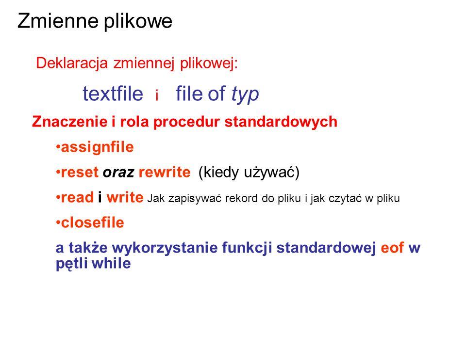 Deklaracja zmiennej plikowej: textfile i file of typ Zmienne plikowe Znaczenie i rola procedur standardowych assignfile reset oraz rewrite (kiedy używać) read i write Jak zapisywać rekord do pliku i jak czytać w pliku closefile a także wykorzystanie funkcji standardowej eof w pętli while