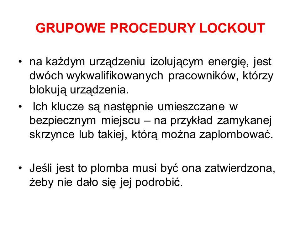 GRUPOWE PROCEDURY LOCKOUT na każdym urządzeniu izolującym energię, jest dwóch wykwalifikowanych pracowników, którzy blokują urządzenia. Ich klucze są