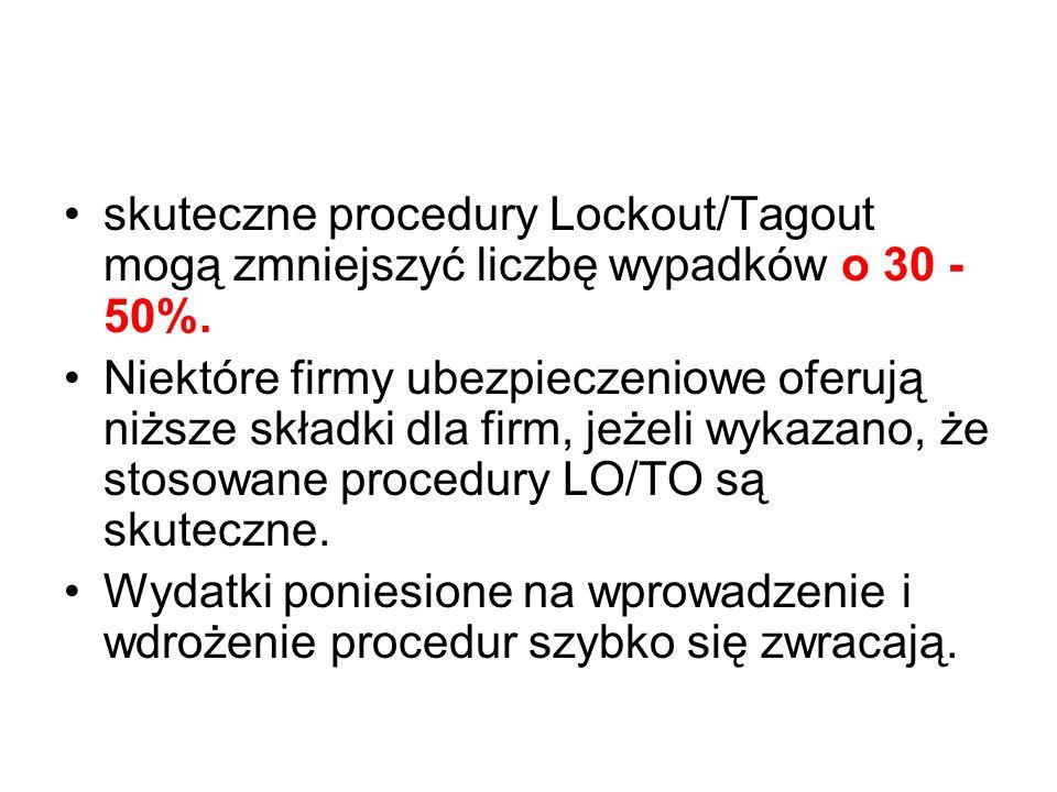 skuteczne procedury Lockout/Tagout mogą zmniejszyć liczbę wypadków o 30 - 50%. Niektóre firmy ubezpieczeniowe oferują niższe składki dla firm, jeżeli